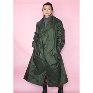 vtg army green long trench coat